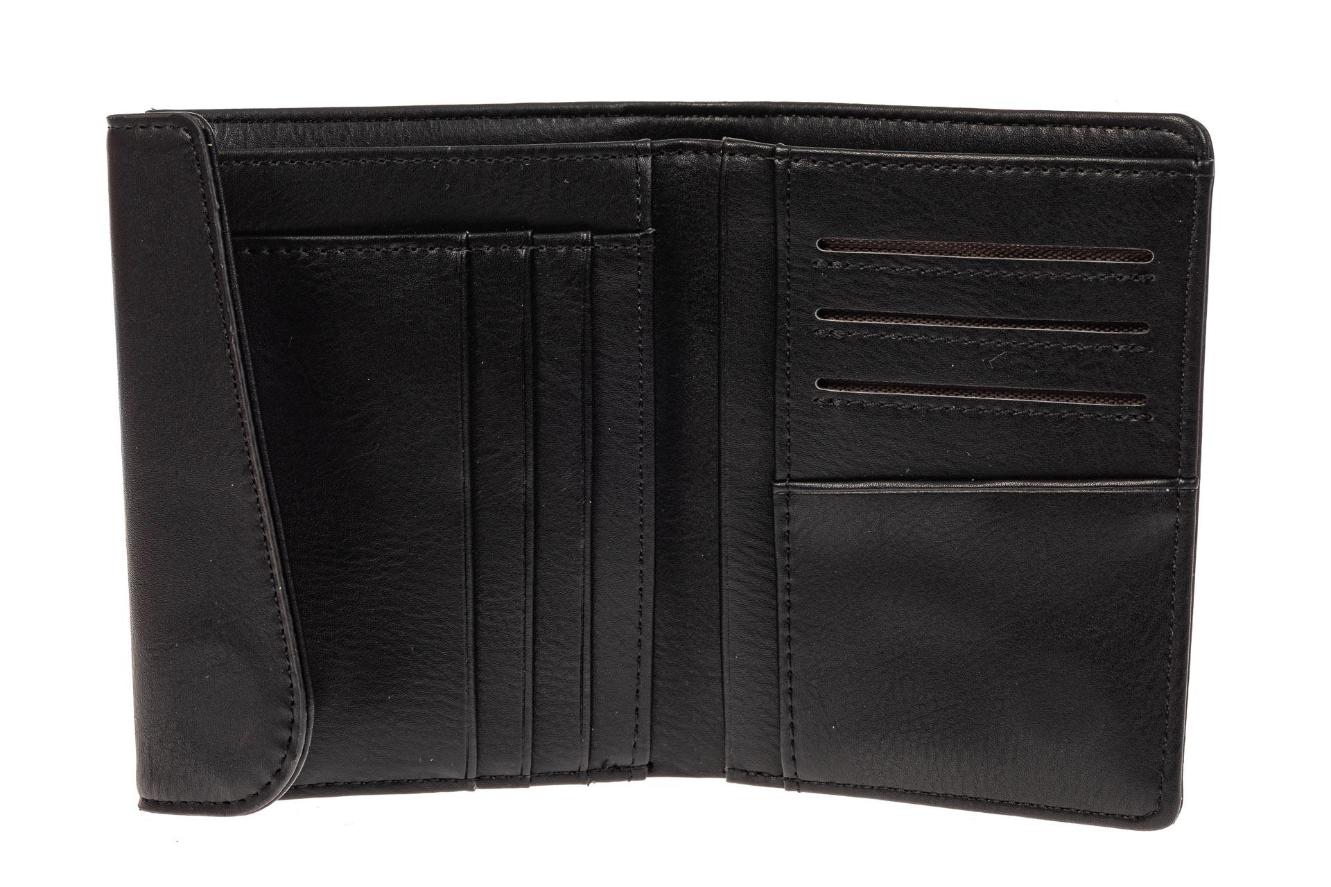 На фото 2 - Мужское портмоне из гладкой искусственной кожи, цвет черный