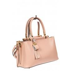 На фото 1 - Кожаная женская сумка тоут, цвет розовый