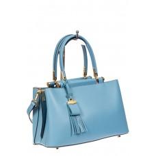 На фото 1 - Кожаная женская сумка тоут, цвет голубой