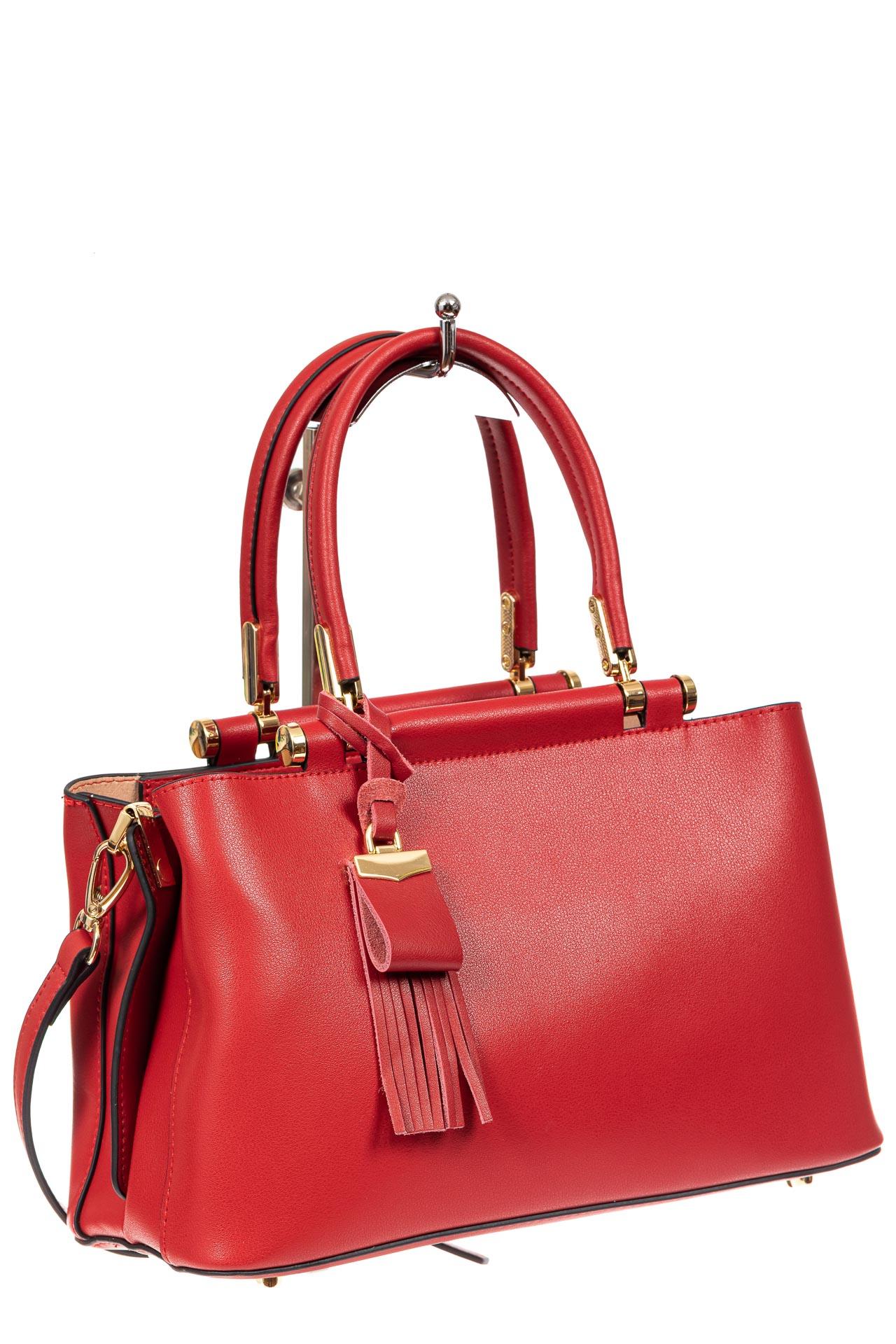 На фото 1 - Кожаная женская сумка тоут, цвет красный