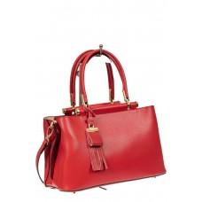 На фото 1 - Кожаная женская сумка тоут с подвеской-кисточкой, цвет красный