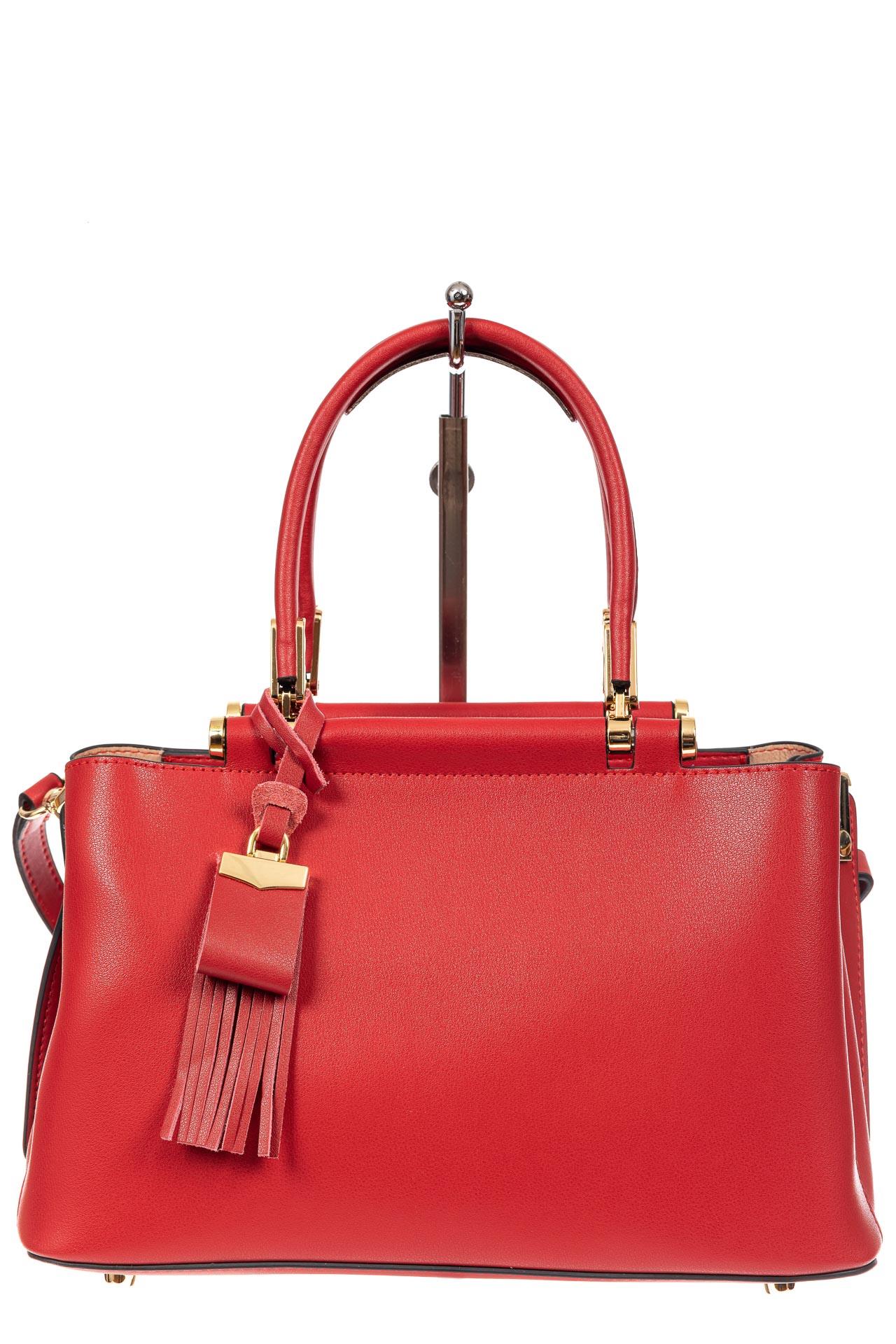 На фото 2 - Кожаная женская сумка тоут, цвет красный