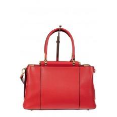 На фото 3 - Кожаная женская сумка тоут, цвет красный