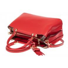 На фото 4 - Кожаная женская сумка тоут, цвет красный