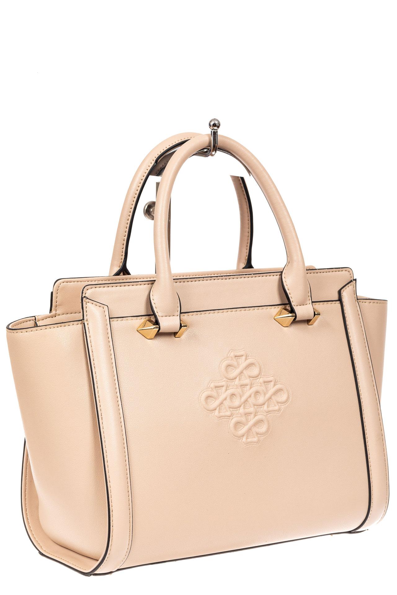 На фото 1 - Кожаная женская сумка-трапеция, цвет белый