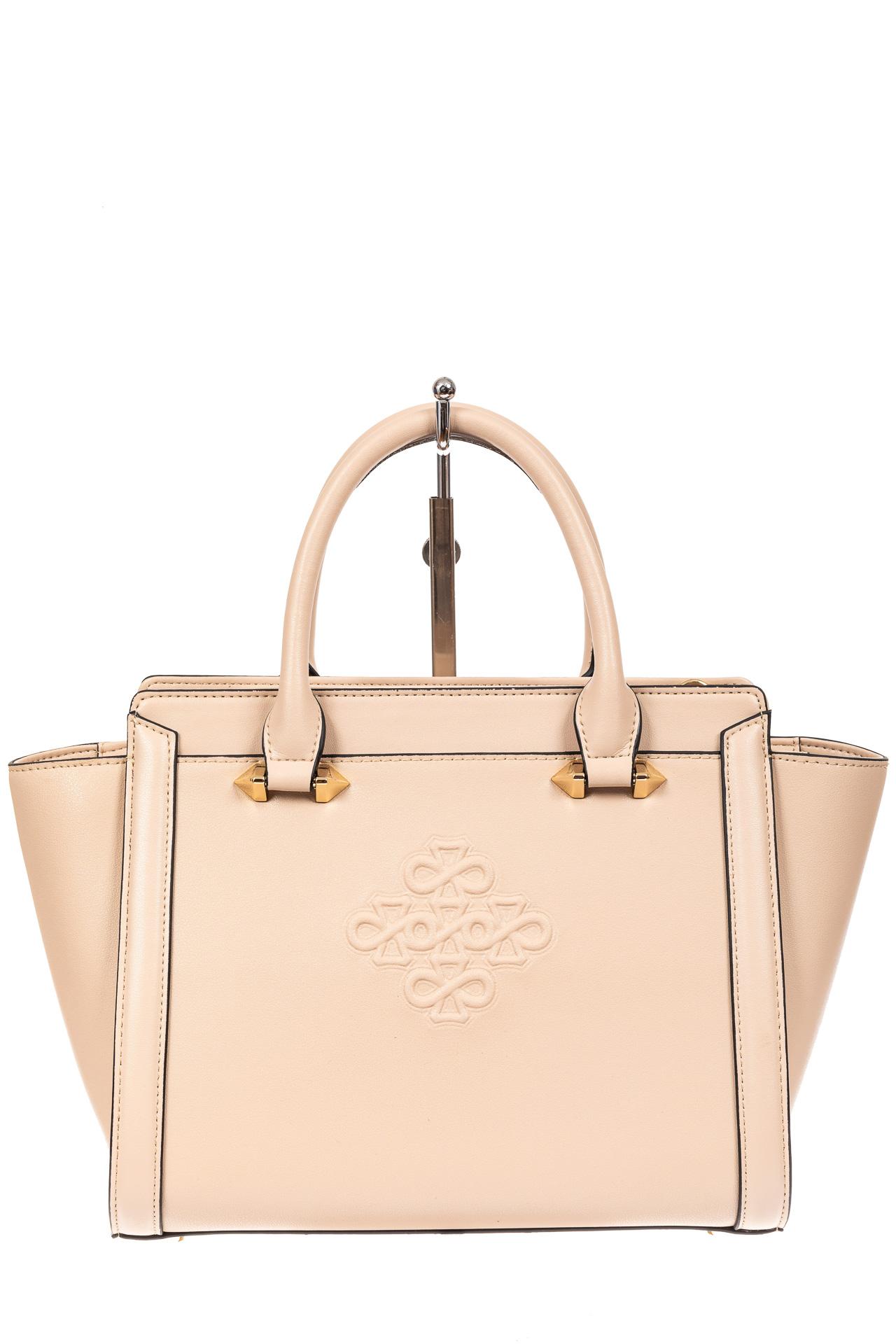 На фото 2 - Кожаная женская сумка-трапеция, цвет белый