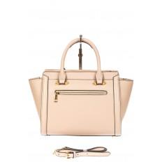 На фото 3 - Кожаная женская сумка-трапеция, цвет белый