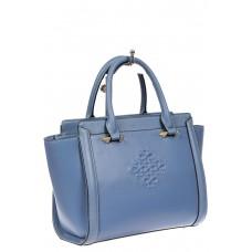 На фото 1 - Кожаная женская сумка-трапеция, цвет голубой