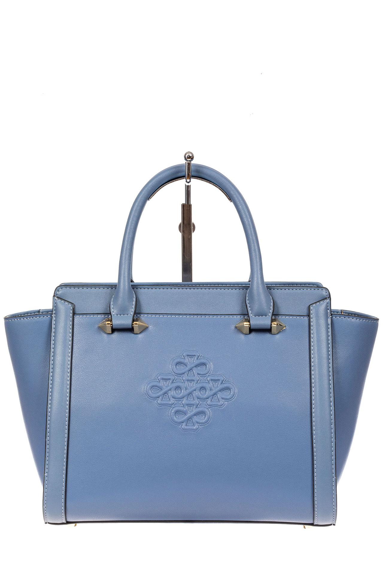 На фото 2 - Кожаная женская сумка-трапеция, цвет голубой