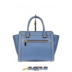 На фото 3 - Кожаная женская сумка-трапеция, цвет голубой