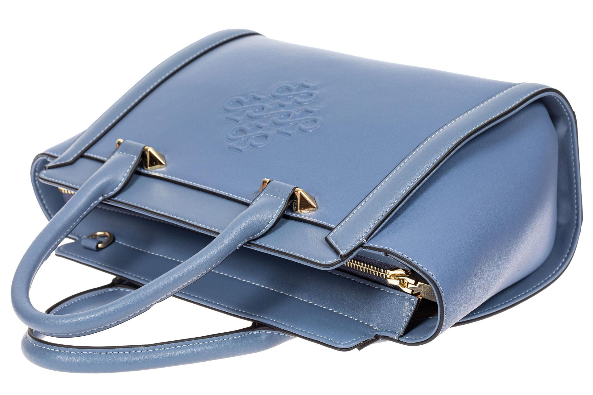 На фото 4 - Кожаная женская сумка-трапеция, цвет голубой