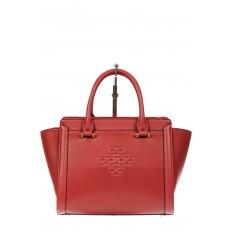 На фото 2 - Кожаная женская сумка-трапеция, цвет красный