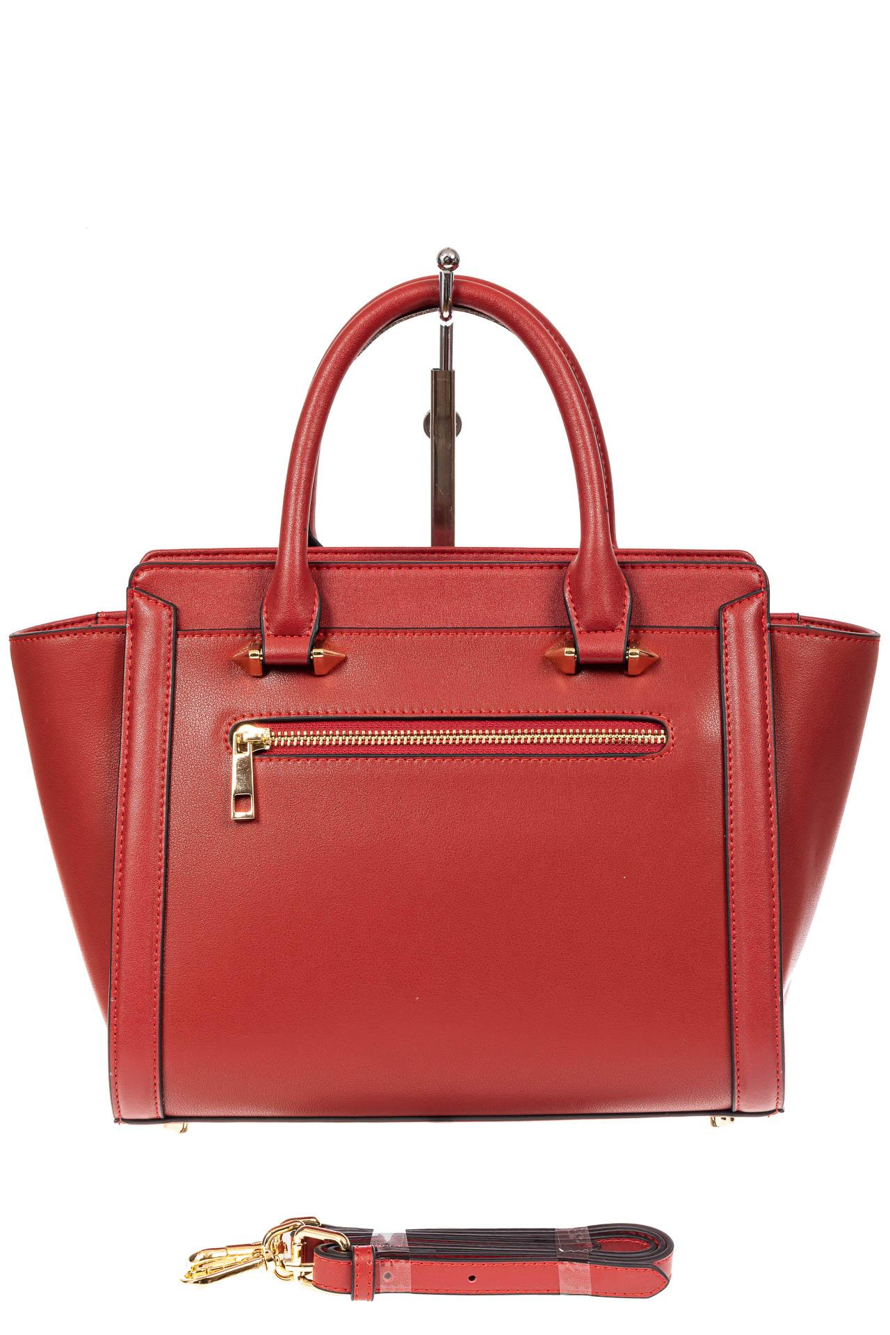 На фото 3 - Кожаная женская сумка-трапеция, цвет красный