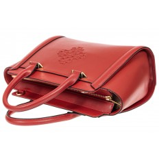 На фото 4 - Кожаная женская сумка-трапеция, цвет красный