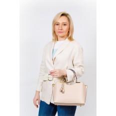 На фото 5 - Кожаная женская сумка тоут с подвеской, цвет голубой