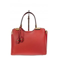На фото 2 - Кожаная женская сумка тоут с подвеской, цвет красный