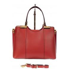 На фото 3 - Кожаная женская сумка тоут с подвеской, цвет красный