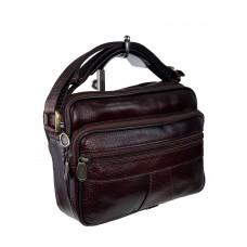 На фото 1 - Небольшая мужская сумка из натуральной кожи, цвет шоколад