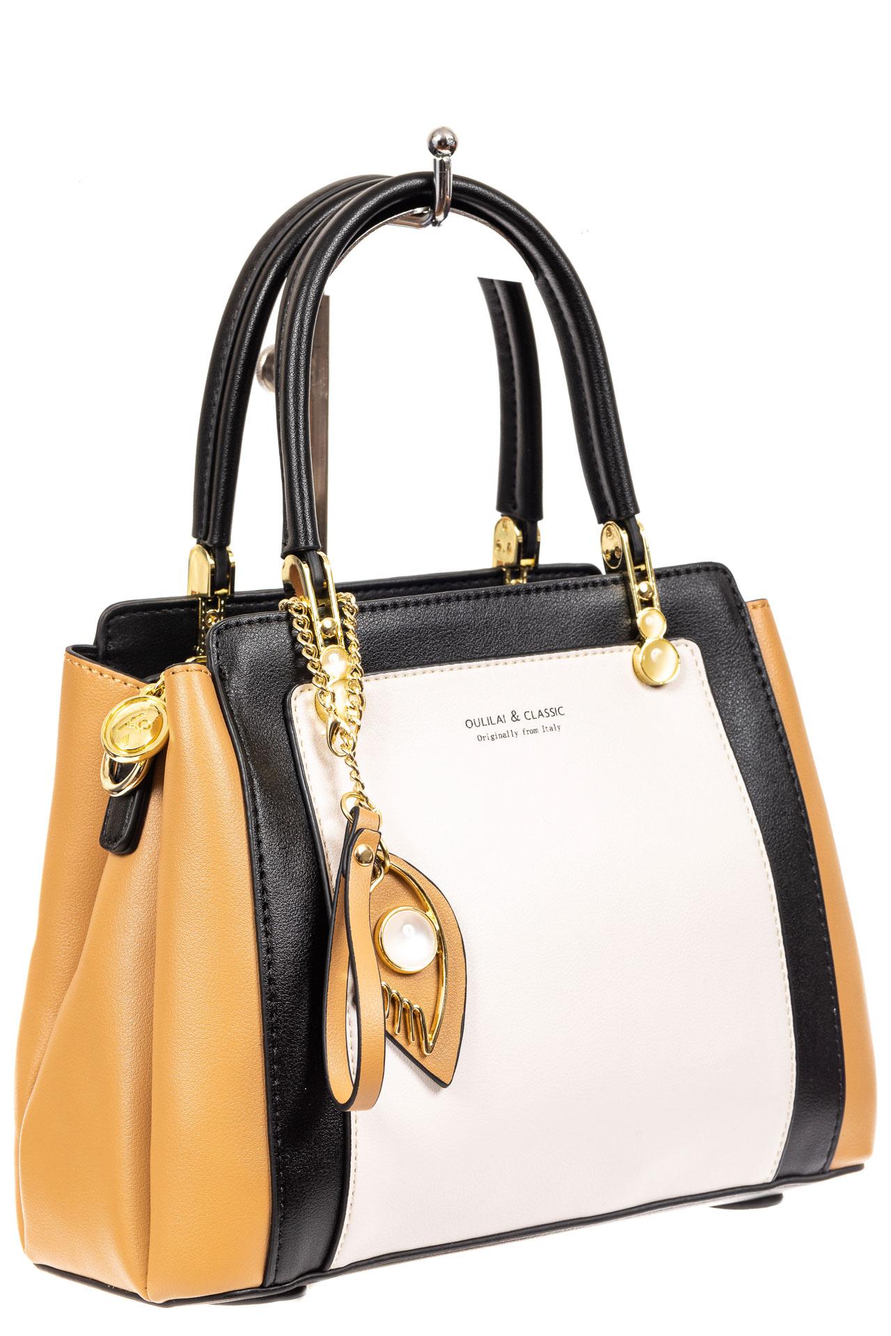 Классическая сумка-трапеция из кожзама, цвет бежевый2325PJ0420/10