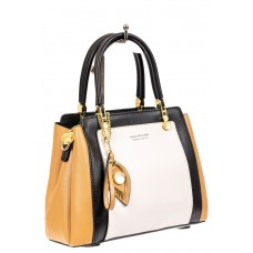 На фото 1 - Классическая сумка-трапеция из кожзама, цвет бежевый