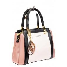 На фото 1 - Классическая сумка-трапеция из кожзама, цвет розовый