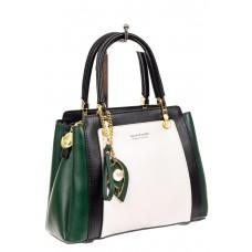 На фото 1 - Классическая сумка-трапеция из кожзама, цвет зеленый