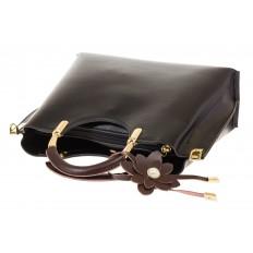 На фото 4 - Черная сумка тоут с ручками-полукольцами 2389