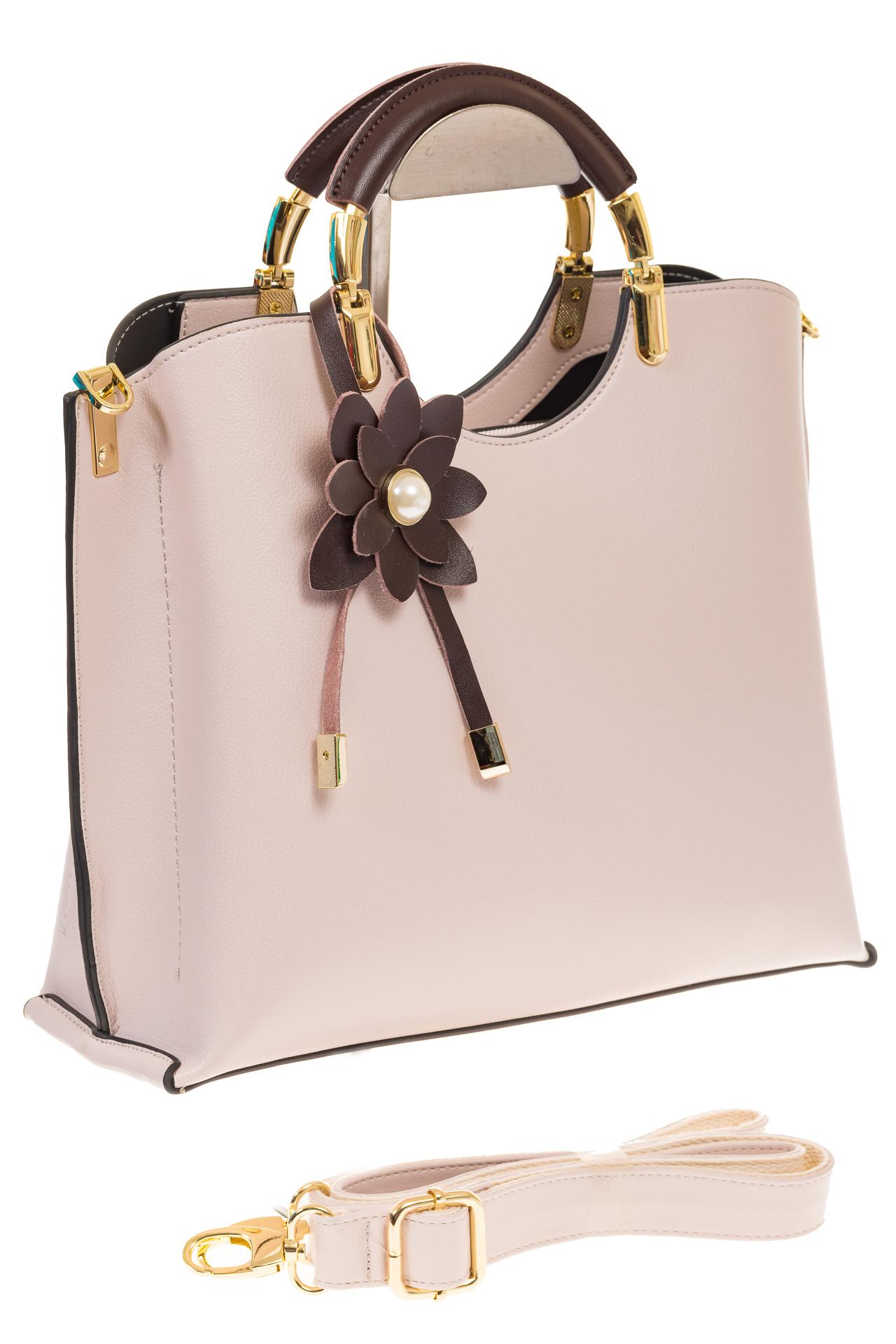 Розовая сумка тоут с ручками-полукольцами 2389 для опта