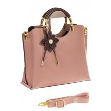 Розовая сумка тоут с ручками-полукольцами 2389