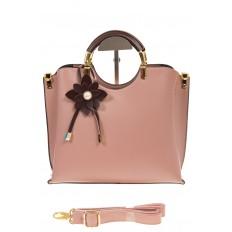 На фото 2 - Розовая сумка тоут с ручками-полукольцами 2389
