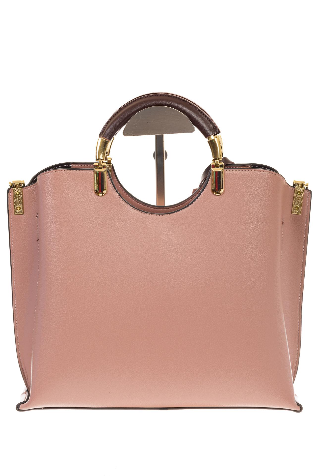 На фото 3 - Розовая сумка тоут с ручками-полукольцами 2389