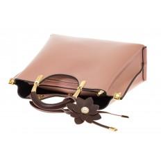 На фото 4 - Розовая сумка тоут с ручками-полукольцами 2389