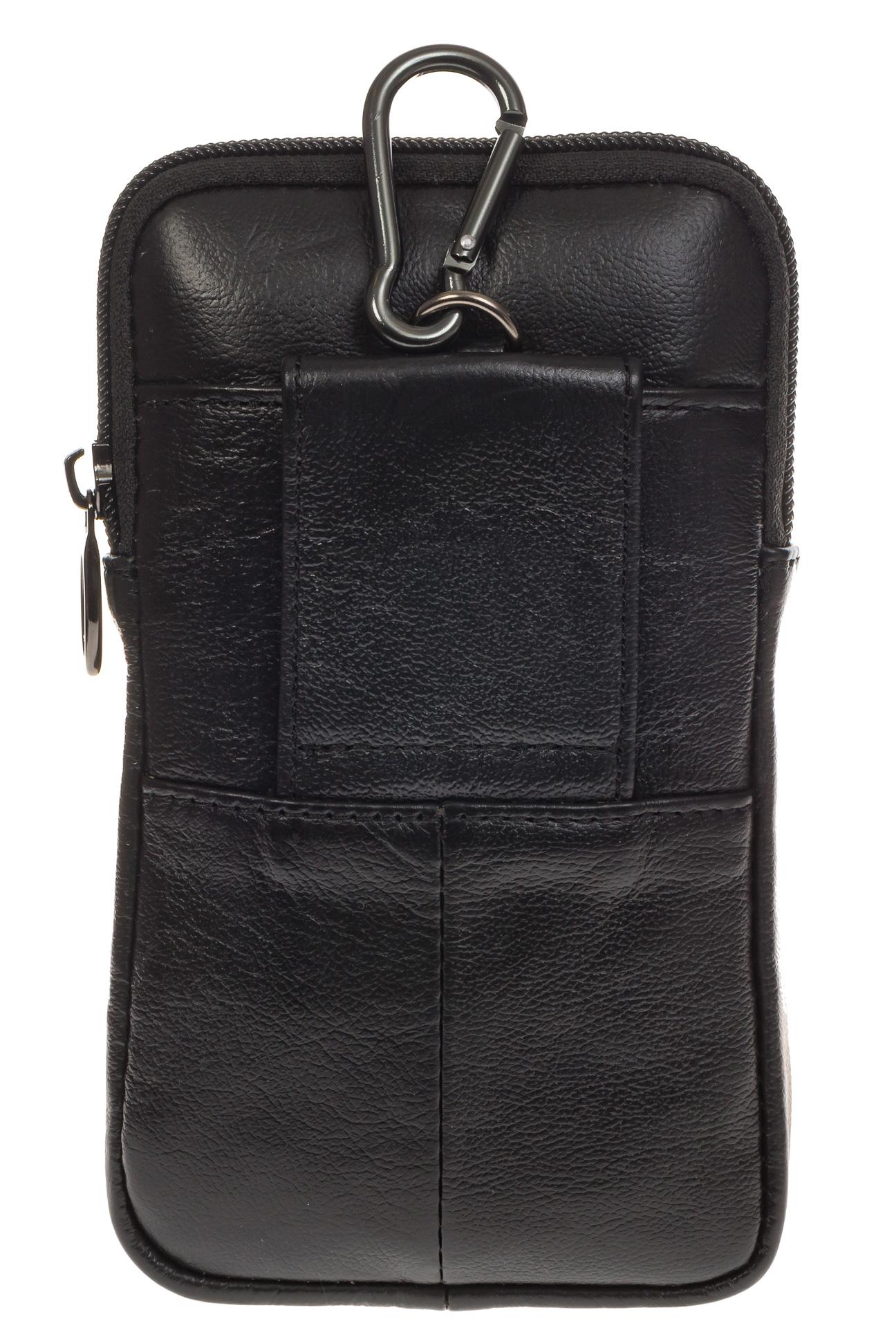 На фото 3 - Мужская сумка из натуральной кожи на поясной ремень