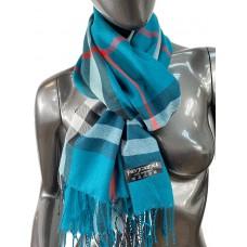 На фото 1 - Кашемировый шарф-палантин с бахромой в клетку, цвет бирюзовый