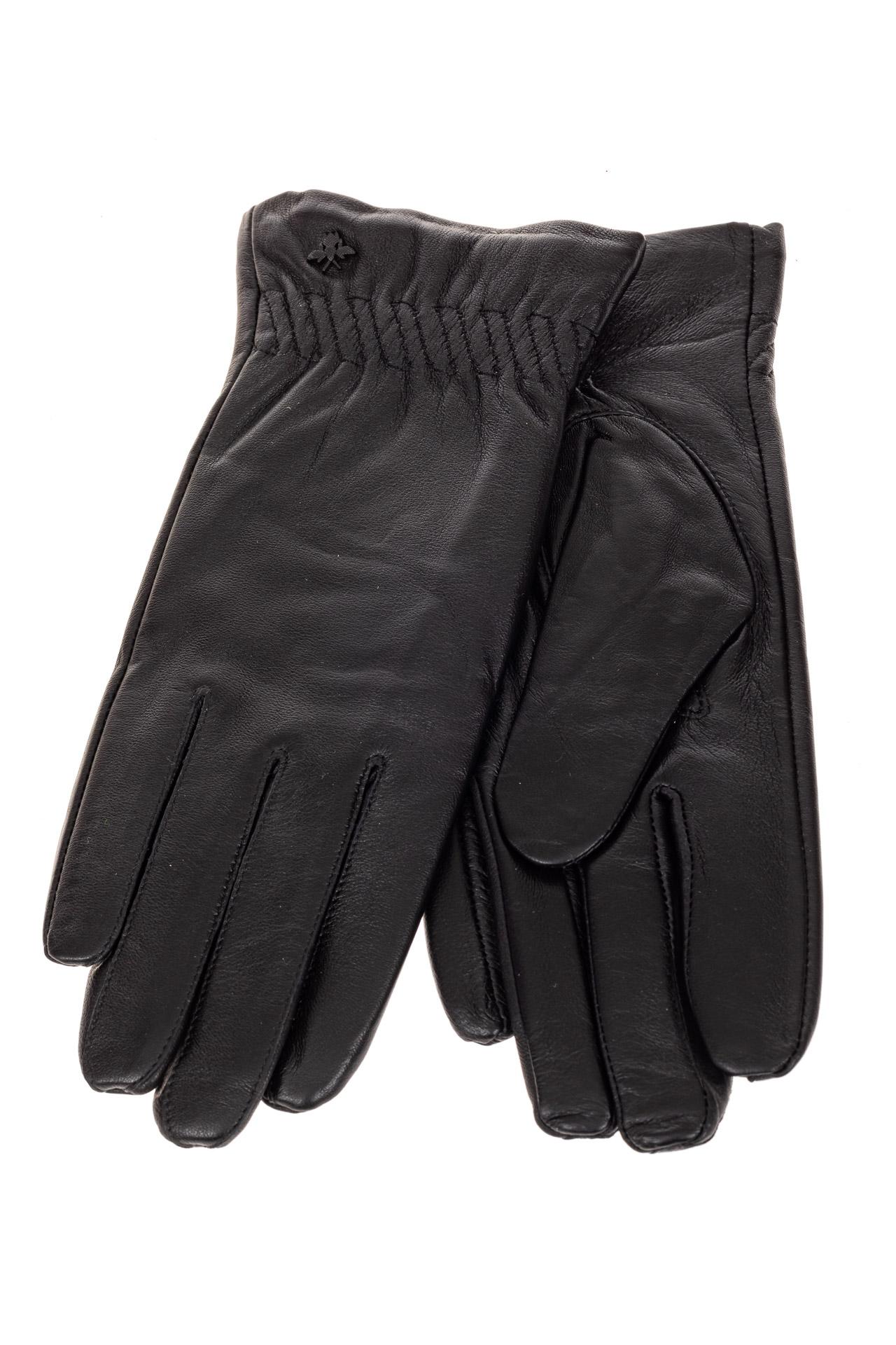 На фото 2 - Перчатки женские кожаные, цвет черный