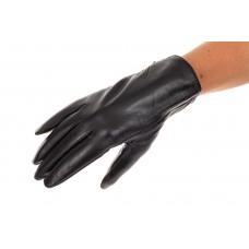 На фото 1 - Перчатки женские, материал - кожа, цвет чер...