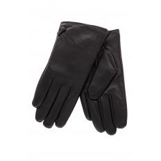 На фото 2 - Перчатки женские, материал - кожа, цвет черный