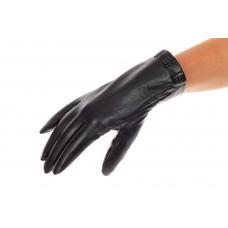 На фото 1 - Перчатки для женщин кожаные, цвет черный