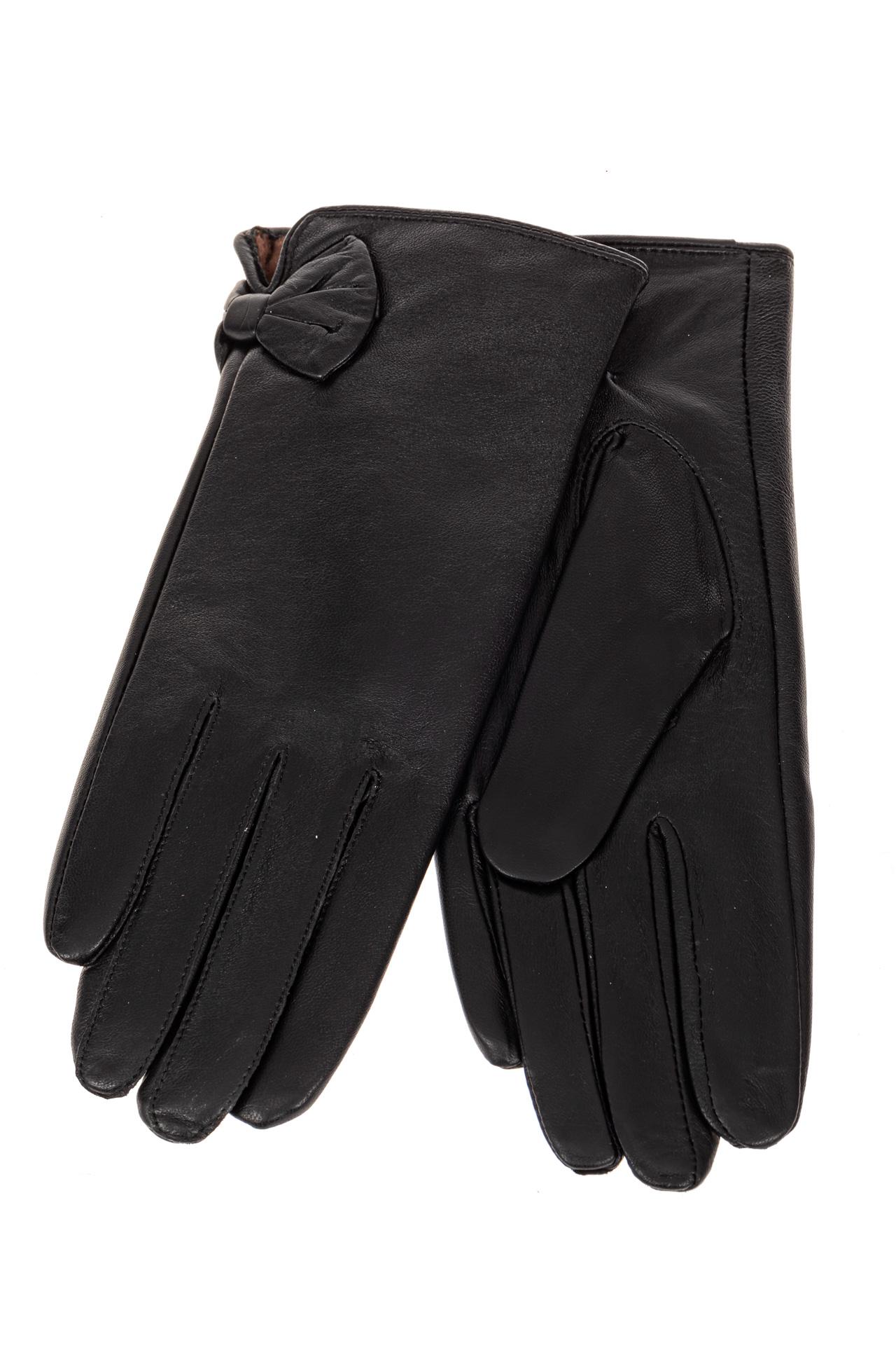 На фото 2 - Перчатки женские кожаные, подкладка флис, цвет черный
