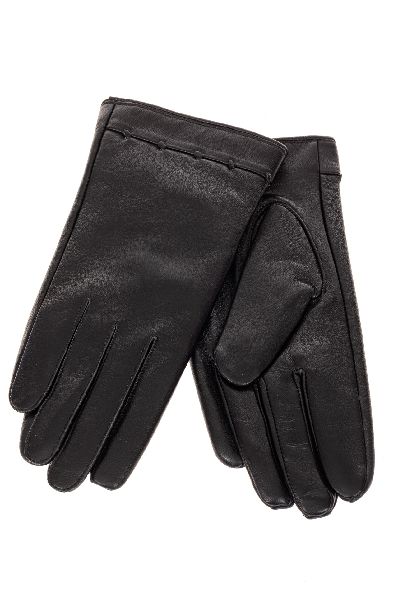 На фото 2 - Перчатки женские кожаные, размер на выбор, цвет черный