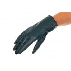 На фото 1 - Перчатки женские кожаные с шерстяным подкладом, цвет темно-зеленый