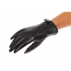 На фото 1 - Перчатки женские кожаные, цвет черный