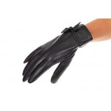 На фото 1 - Перчатки женские кожаные, с акцентом бантом...