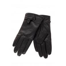 На фото 2 - Перчатки женские кожаные, с акцентом бантом, цвет черный