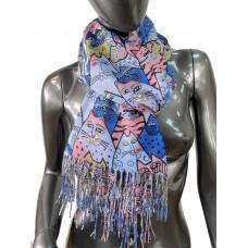На фото 1 - Хлопковый шарф-палантин с росписью в виде кошек, мультицвет