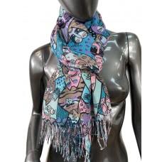 На фото 1 - Разноцветный хлопковый шарф-палантин с кошками
