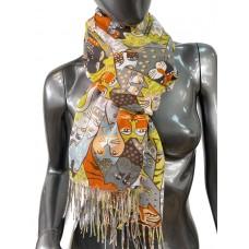 На фото 1 - Разноцветный шарф-палантин из хлопка с кошками