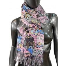 На фото 1 - Разноцветный шарф-палантин из хлопка с росписью в виде кошек