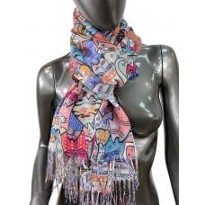 На фото 1 - Разноцветный хлопковый шарф-палантин с росписью в виде кошек