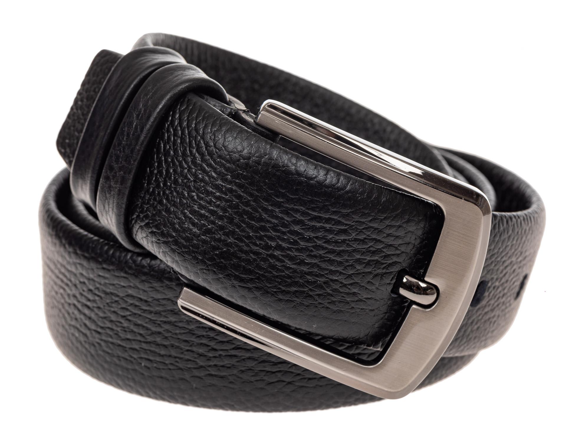На фото 1 - Кожаный ремень мужской, цвет черный